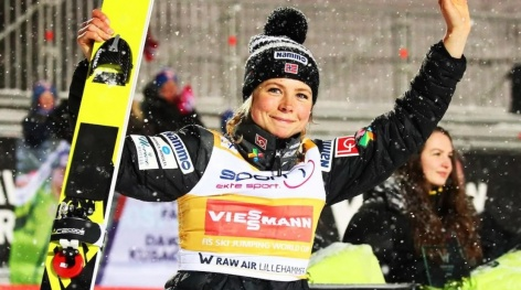 Maren Lundby comes from behind to win in Lillehammer