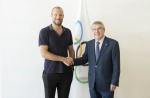 IOC President Bach meets Aksel Lund Svindal and Virginie Faivre